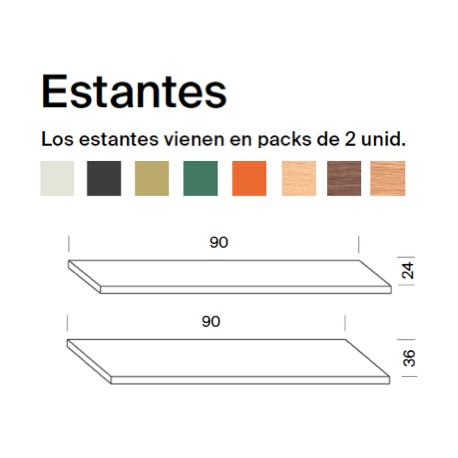 Pack 2 wall shelves - 60cm